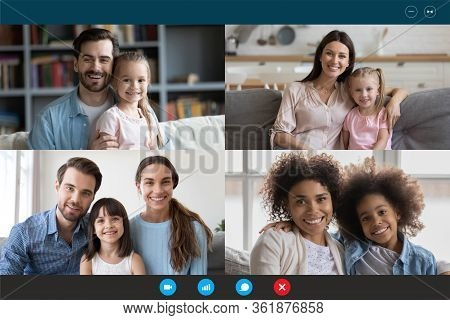 Diverse Families Involved In Video Conference Laptop Screen Webcam View