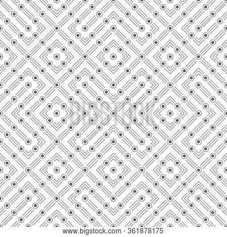 Seamless Pattern. Infinitely Repeating Modern Stylish Texture Consisting Of Thin Lines And Dots Whic