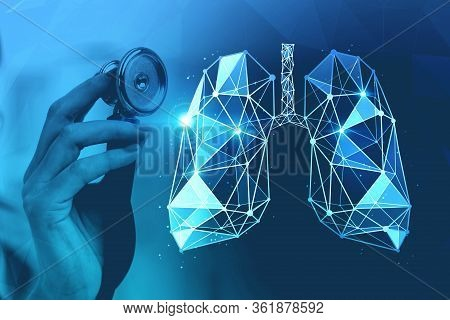 Hand Of Woman Doctor With Stethoscope Over Blurry Blue Background With Double Exposure Of Glowing Lu