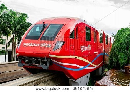 Red Sentosa Express Train While Going Towards Sentosa Park, Singapore, March 30, 2020