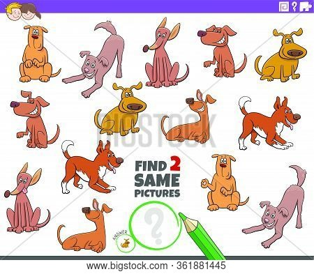 Cartoon Illustration Of Finding Two Same Pictures Educational Task For Children With Dogs And Puppie