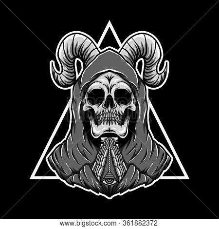 Praying Skull Triangle Vector Illustration For Your Company Or Brand