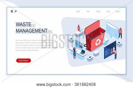 Waste Management Isometric Landing Page. Control And Management Of Garbage Utilization Process, Wast
