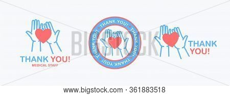 Thank You. Isolated Phrase With Silhouette Of Hands Holding A Heart Symbol On The Palms On White Bac
