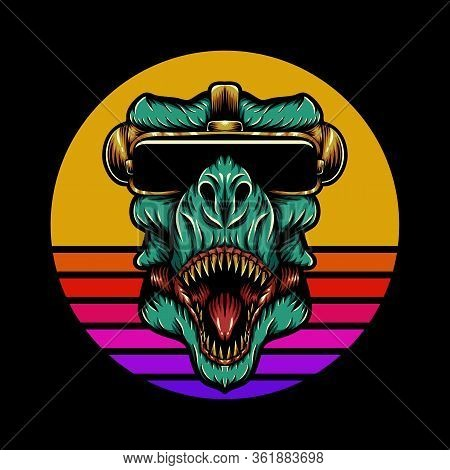 T Rex Sunset Retro Vector Illustration For Your Company Or Brand