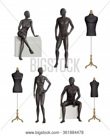 Mannequins Realistic Colored Set Of Isolated Black Mannequin Images With Male And Female Models And
