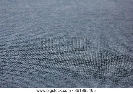 Greyish Fabric Surface Background. Empty Cotton Clothes Texture Pattern. Fashion Design Detail Close