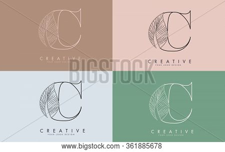 Outline Letter C Logo Icon With Wired Leaf Concept Design On Colorful Backgrounds. Letter C With Nat