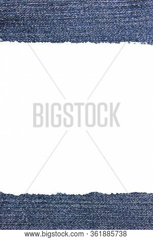 Ripped Torn Jeans Texture Banner. Vertical Template With Tear Denim Jean Blue Edges, Empty White Cop