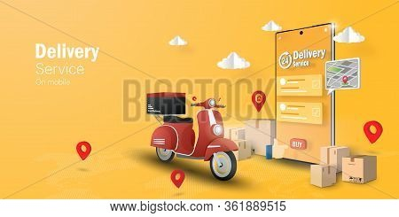 E-commerce Concept, Delivery Service On Mobile Application, Transpotation Or Food Delivery By Scoote