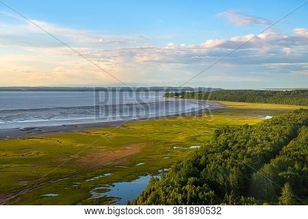 A Scenic Look At The Coast Outside Of Anchorage Alaska In Early Summer.