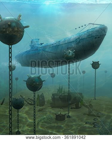 German Wwii U-boat Submarine Navigating Through An Explosive Naval Underwater Minefield, 3d Render