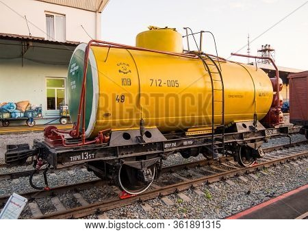 Voronezh, Russia - August 29, 2019: Railway Tank For Cement, Retro-exhibition Of Railway Equipment,