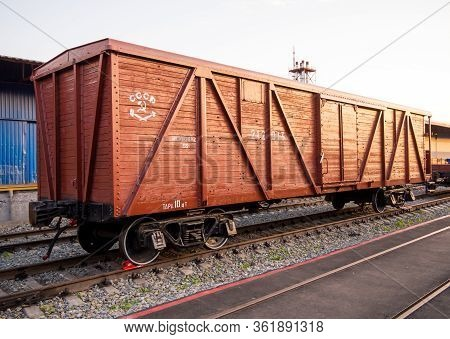Voronezh, Russia - August 29, 2019: Wooden Freight Car, Retro-exhibition Of Railway Equipment, Voron