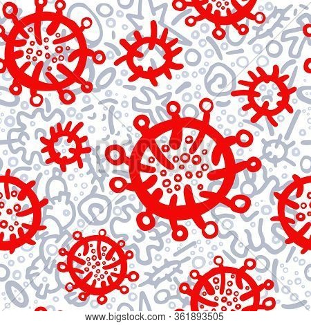 Corona Virus Seamless Pattern. Art Hand Drawn Doodle Vector Illustration. Illness Symptom, Bacteria,