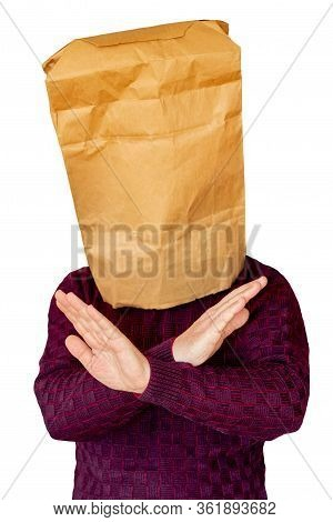 Man With Package On Head And Arms Crossed As End Sign, Paused, On White Isolated Background_