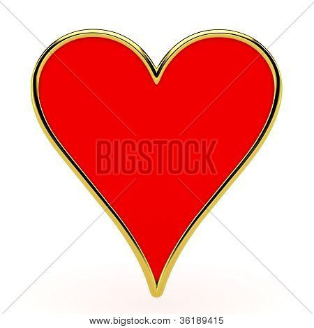 Hearts card suits with golden framing isolated