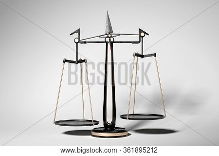 Scales, Metallic Balance Scale On White Background. Justice Symbol. 3d Rendering