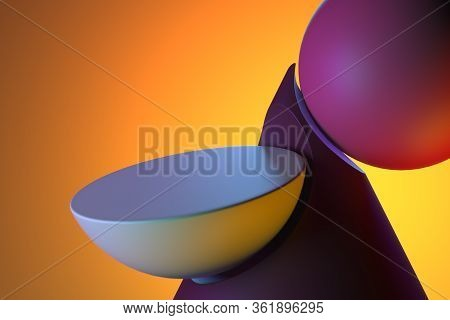 Round Showcase On Abstract Plastic Matte Figures Of Pink And Violet Colors On Bright Orange Backgrou