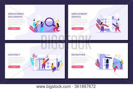 Employment Service And Employment Documents Flat 4x1 Set Of Horizontal Banners With Editable Text An