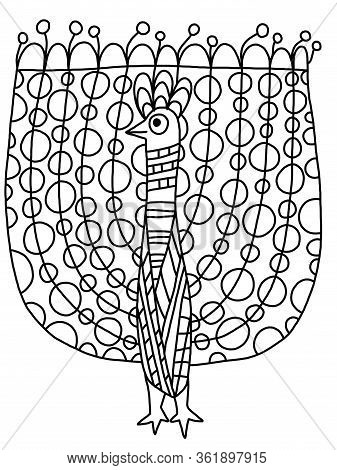 Open Tail Peacock Coloring Book Page For Kids And Adults. Black Outline Isolated On White. Stylized