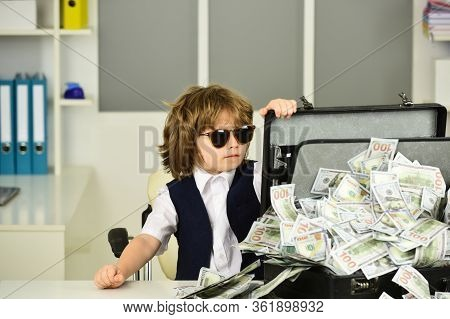 Mafia. Cute Boy In Sunglasses With A Suitcase Of Money. Gambling. Gambling Win. Children And Cash. F