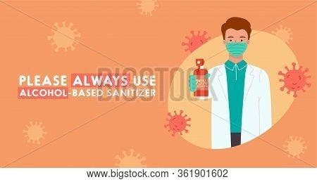 Doctor Showing Sanitizer In Her Hand. Covid-19 Prevention. Alcohol-based Sanitizer. Vector Illustrat