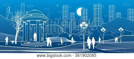 Illustration Of Urban Rest In The Park. Garden House. Relaxation Infrastructure. Evening City Scene.