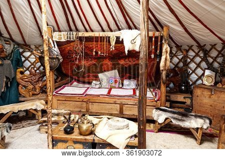 Ulan Bator, Mongolia - August 25, 2016: Interior Of The Traditional Mongolian Ger In The Mongolia 13