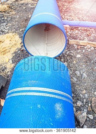 Large Diameter Pipe. Pipes Of Pvc Large Diameter Prepared For Laying On Construction Site