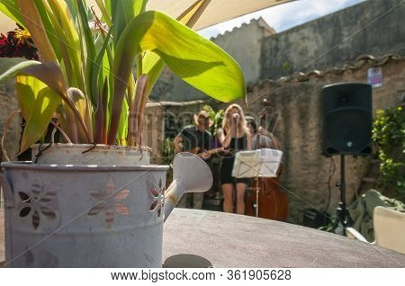 A Metal Watering Can With Plants Inside. In The Background, A Concert By A Jazz Trio Outdoors On A S
