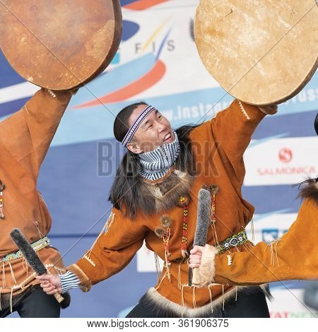 Aborigine Dancer In National Clothes Inhabitant People Emotion Dancing With Tambourine. Concert Kory