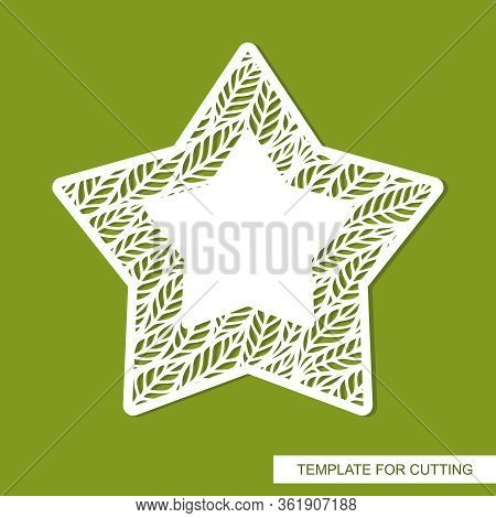 Vector Decorative Star With Pattern Of Branches, Leaves And Copy Space. Design Element, Sample Panel
