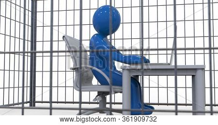 3D Illustration: Business Concept Illustration of a Businessman Working on Computer in the Steel Cage, Trapped and Captivity Conceptual Idea, Office Employee Man