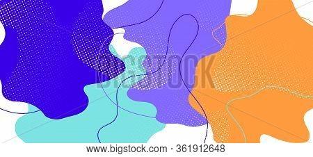Colorful Memphis Shape. Graphic Abstract Illustration. Futuristic Liquid Template. Purple Flow Ornam