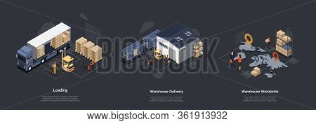 Isometric Warehouse Work Process Concept. On Time Worldwide Delivery. Delivery Equipment And Profess