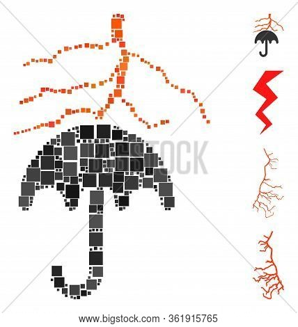 Collage Thunderstorm Lightning Umbrella Icon United From Square Items In Variable Sizes And Color Hu