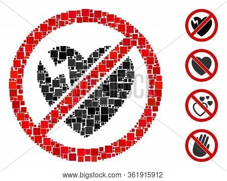Collage No Broken Heart Icon Constructed From Square Elements In Different Sizes And Color Hues. Vec