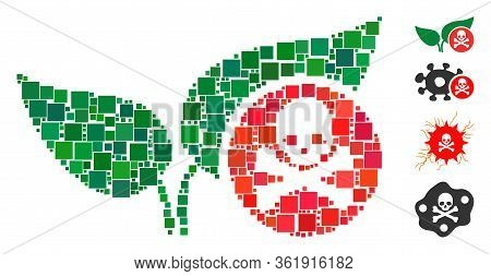 Collage Herbicide Icon United From Square Elements In Different Sizes And Color Hues. Vector Square