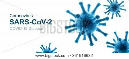 Covid-19 Coronavirus Background, 3d Illustration, Pathogen Germs Isolated On White Background. Novel