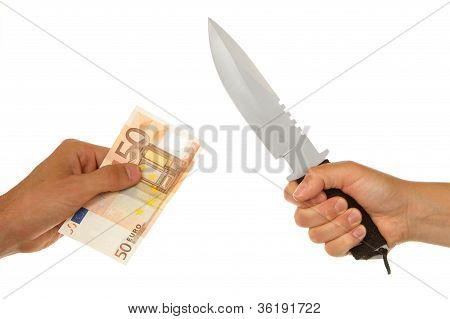 Woman With Knife Threatening A Man