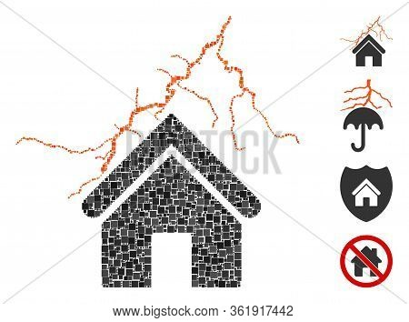 Mosaic Home In Thunderstorm Icon Composed Of Square Elements In Variable Sizes And Color Hues. Vecto