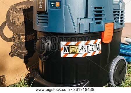Strasbourg, France - Feb 9, 2020: Close-up Detail Of Bosch Gas 35 M Afc Professional Wet Dry Vacuum