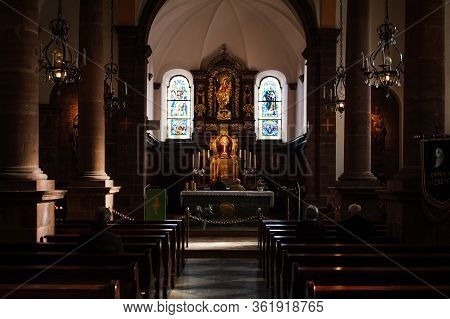 Mont Sainte-odile, France - Feb 10, 2013: Interior View Of Chapel Of Mont Sainte-odile Cathedral Chu