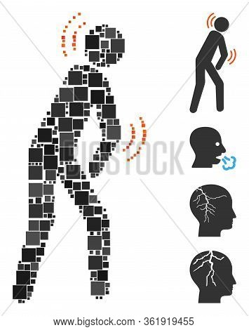 Mosaic Parkinson Disease Icon Organized From Square Elements In Random Sizes And Color Hues. Vector