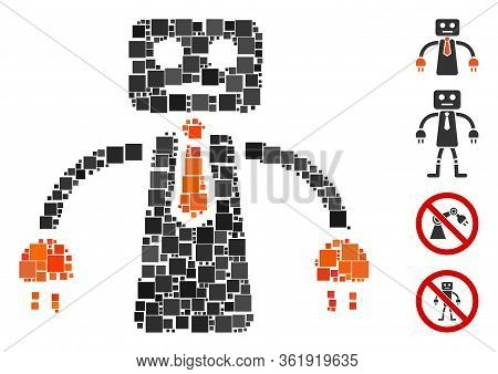 Collage Boss Robot Icon Organized From Square Elements In Variable Sizes And Color Hues. Vector Squa