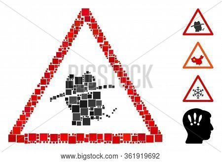 Mosaic Smoker Warning Icon Composed Of Square Elements In Various Sizes And Color Hues. Vector Squar