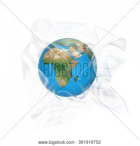 Earth globe packed in a transparent plastic bag. Isolated on white. 3D render.
