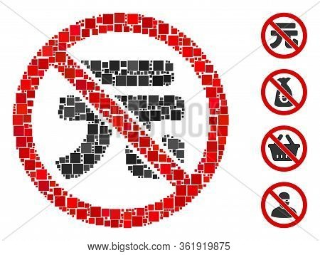 Collage No Chinese Yuan Icon United From Square Items In Different Sizes And Color Hues. Vector Squa