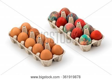 Packs Of Regular Eggs And Colorful Easter Eggs In Cardboard Egg Box On White Background. Raw Chicken